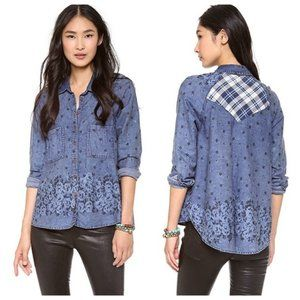 Free People Dottie Over You Chambray Top Hi-Low